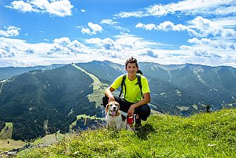 Mountain hiking with dog